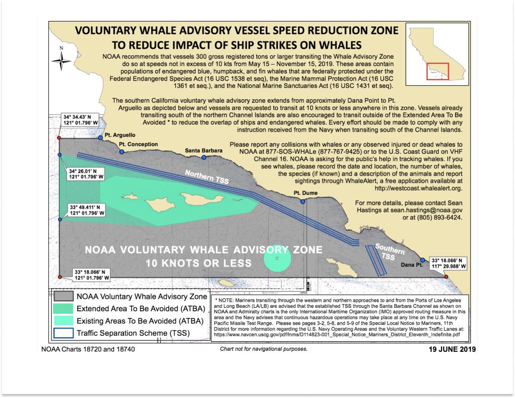 NOAA Whale Advisory Zone Map